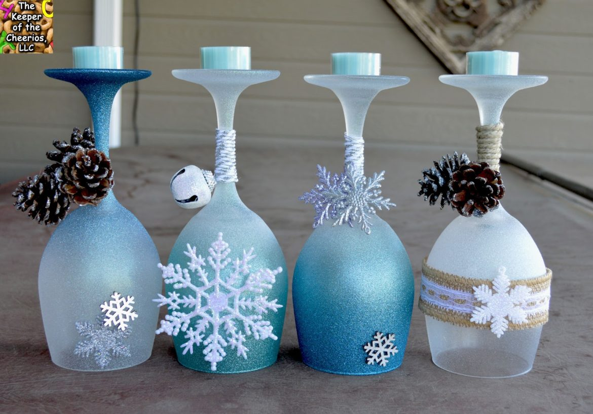 Hand Painted Wines Glasses Pine Cones