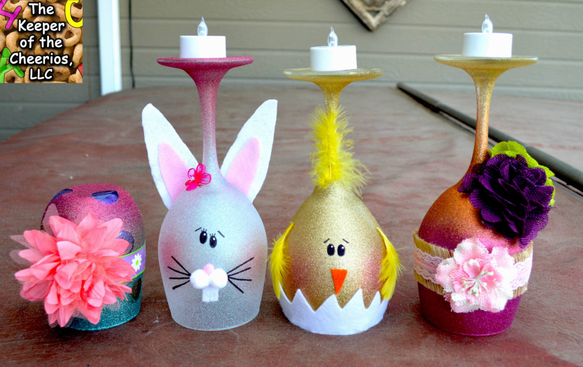 easter wine glass candle holders....