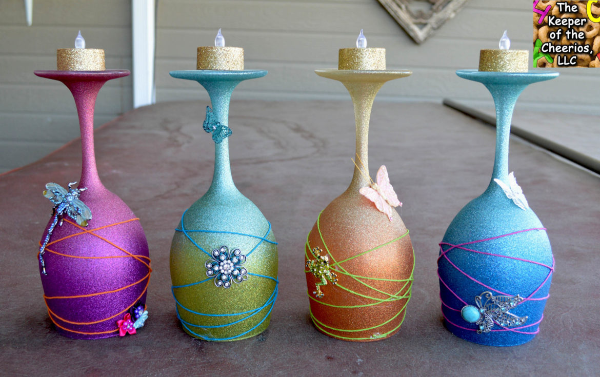 spring wine glass candle holders