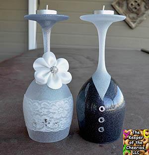 wedding elegance wine glass candle holders. Black Bedroom Furniture Sets. Home Design Ideas
