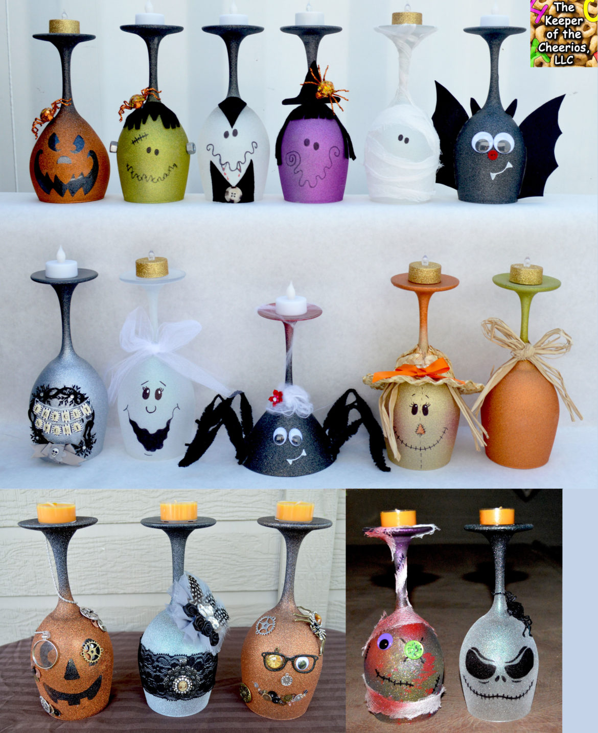 Halloween Wine Glass Candle Holders