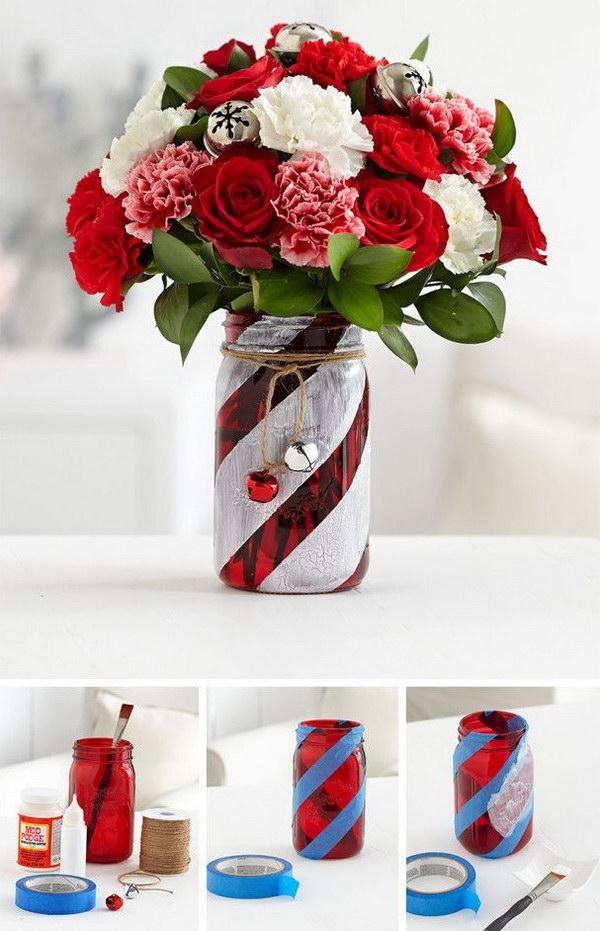 Candy Cane Mason Jar Vase