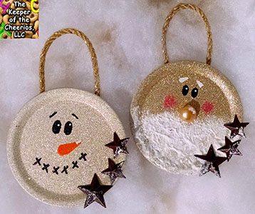 MASON JAR LID CHRISTMAS ORNAMENTS SM