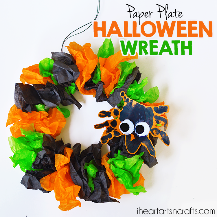 Paper Plate Halloween Wreath with Handprint Spiders