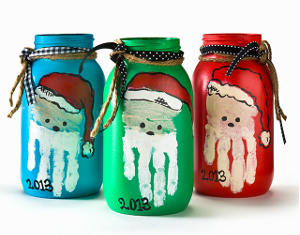 Handprint Art Santa Jars