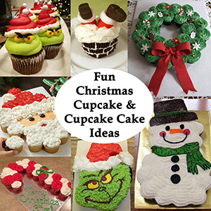 Christmas Cupcake and Cupcake Cake Ideas sm