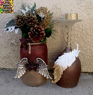 Country Holiday candle holder and mason jar sm