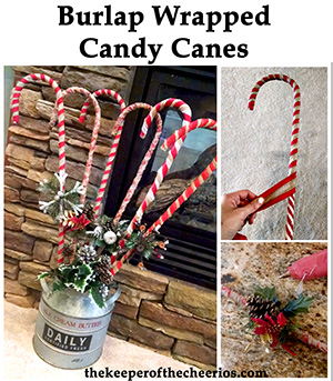 burlap wrapped candy canes sm