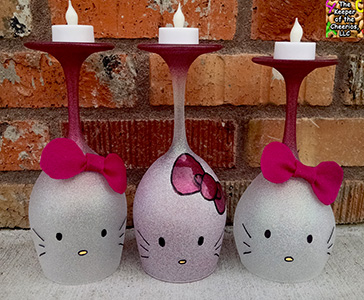 hello kitty wine glass candle holder sm