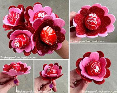 Heart flower suckers valentine sm