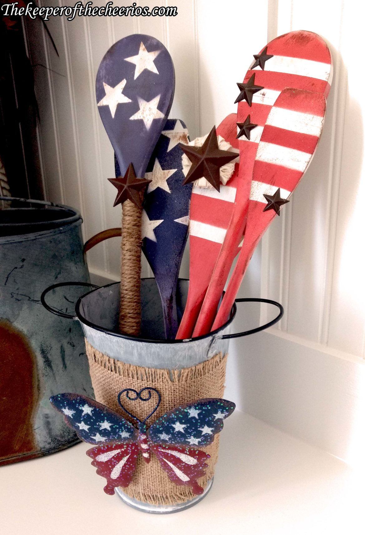 Patriotic Wooden Spoons Decor The Keeper Of The Cheerios