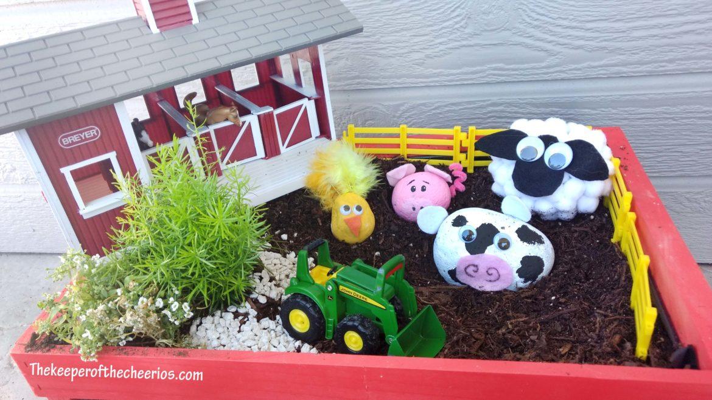 farm animal rock garden