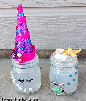 Unicorn and mermaid fantasy snowglobe jars sm