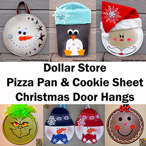 Dollar Store Pizza Pan Christmas Door hangs sm