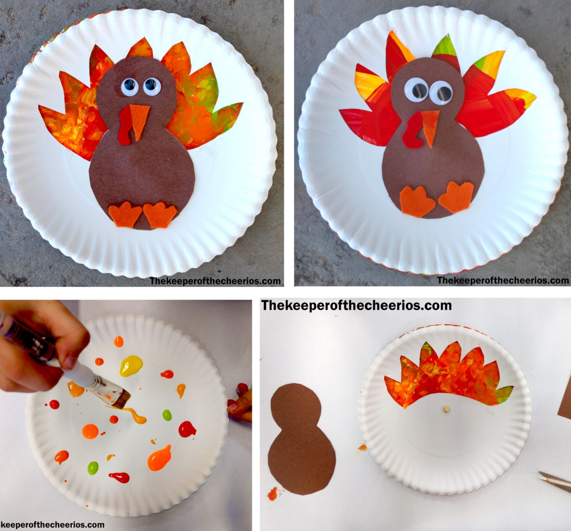 Turkey Paper Plate Craft With Cheerios