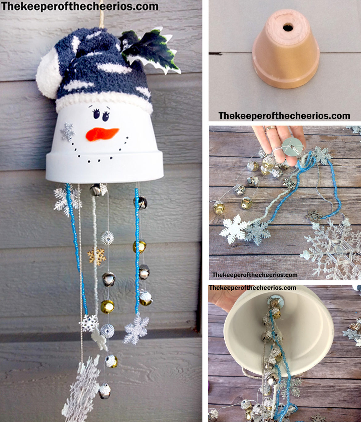 Made From Clay Pots Crafts: Clay Pot Snowman Wind Chime