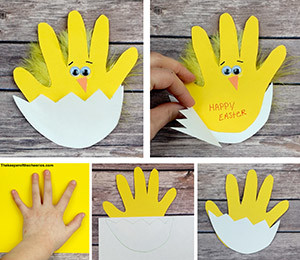 Easter Chick handprint card sm