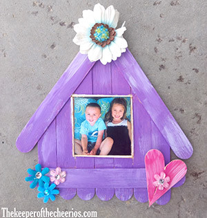 craft stick bird house photo frame smm