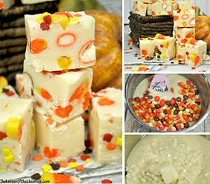 Candy Corn Pumpkin Fudge