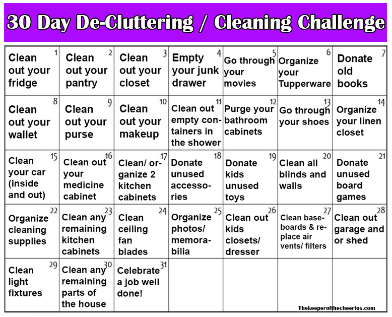 30 Day De Cluttering Cleaning Challenge The Keeper Of