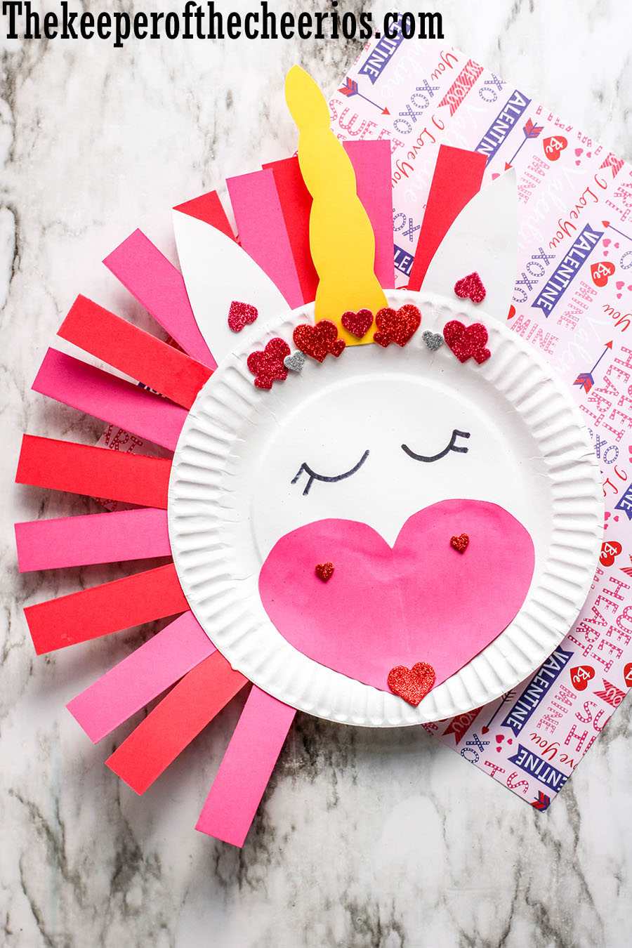 valentines day unicorn paper plate craft