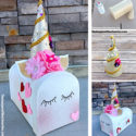 Unicorn Valentines Day Mailbox